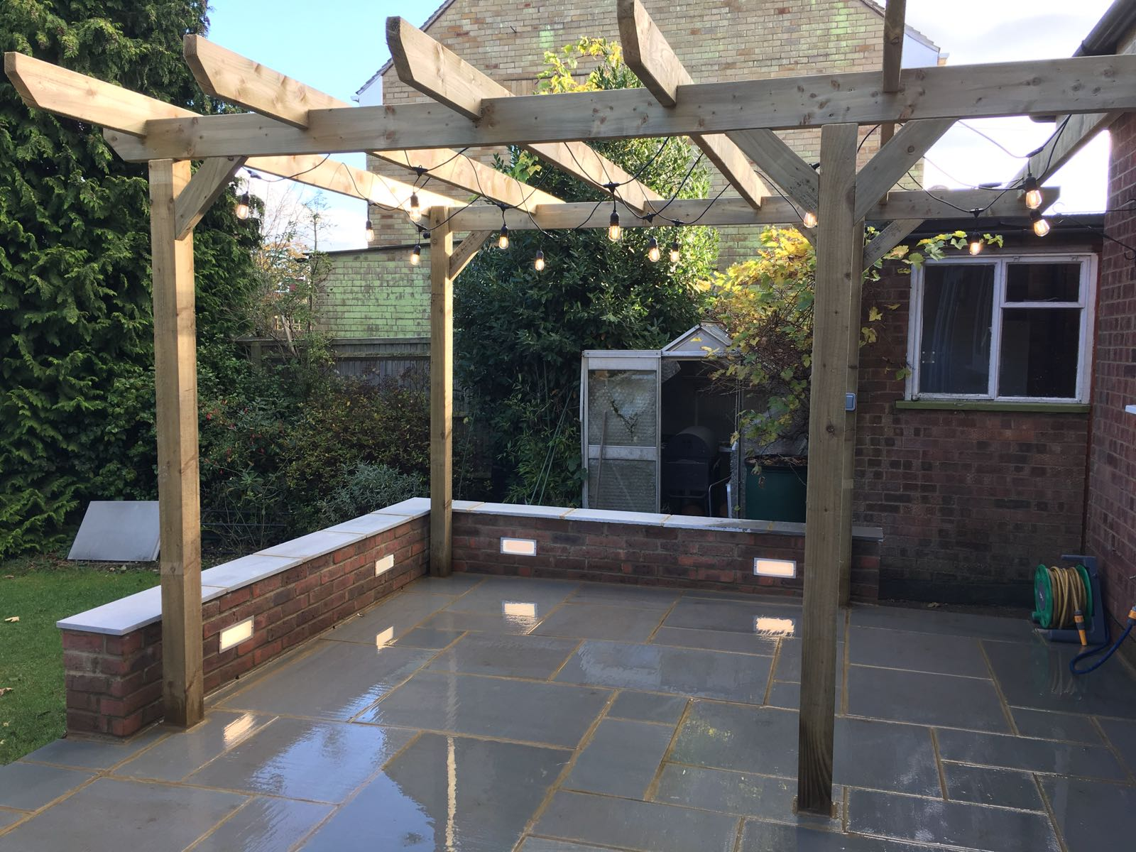 Patio with Pergola and Lighting – TS Drives & Landscapes